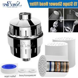 15 Stage Shower Head Water Filter Hard Water Softener w/ 1 Y