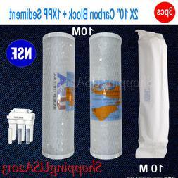 """2Pc 10"""" Active Carbon Omnipure 10M +1 Pc 10M PP Sediment Pen"""