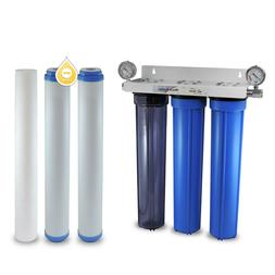 "3 Stage 20"" Whole House Water Filter Softening Softener Syst"