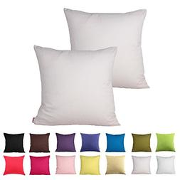 Queenie® - 2 Pcs Solid Color Cotton Decorative Pillowcase C