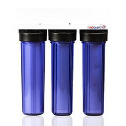 "TRIPLE BIG BLUE 20'' WATER FILTER SYSTEM-1"" Sediment/Carbon/"