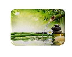 DENGYUE Asian Style Green Bamboo Leaves Bathmats, Natural Sc