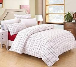 SUSYBAO Grid Bedding Set King Size White Red Plaid Pattern 3