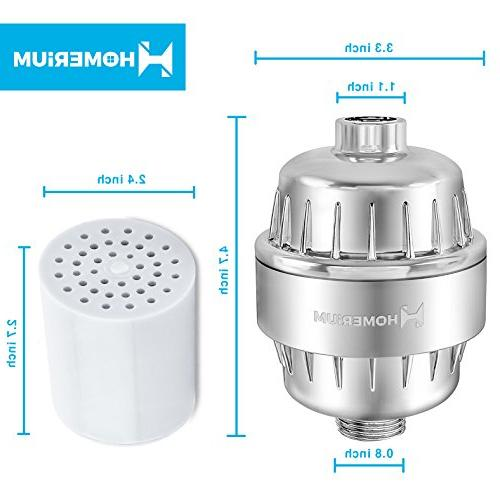 HomeRium 10-Stage Shower | 3 Replacement Cartridge With Teflon Softener For Shower Head Filters For Hard Water, Rust,