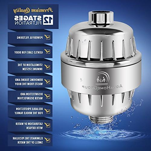 AquaHomeGroup Powerful 12 Stage Shower Filter Hard Cartridges | Consistent Showerhead Hair