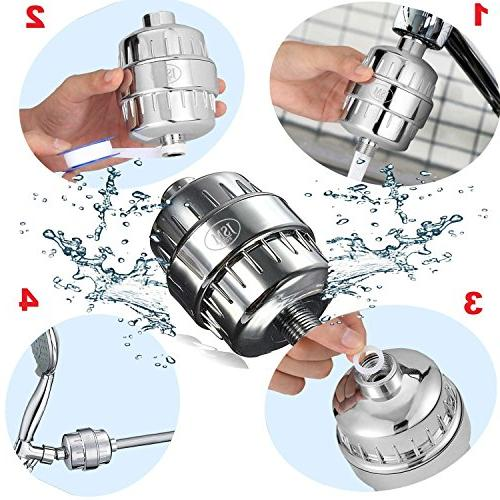 JsmHome 12 Stage Shower head filter/softener, Increases Ph removes bacteria & viruses, chlorine, impurities, fluoride, metal - health