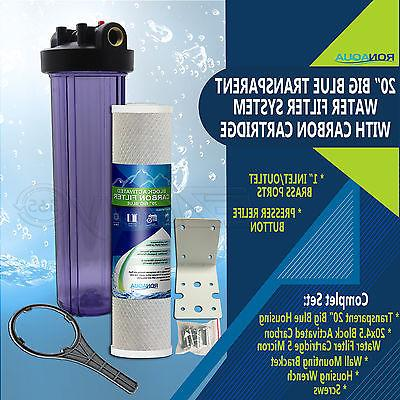 """20""""Transparent Big Blue Water Filter Purifier System with Ca"""