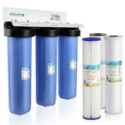 "APEC 20"" BB 3 Stage Whole House Water Filter System Iron, Se"