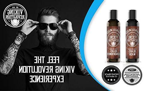 Beard Conditioner Set Jojoba Softens & Sandalwood Scent Shampoo w/Beard Oil