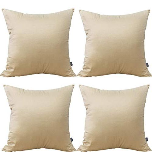 4-Pack 100% Solid Throw Case Square Cushion Cover Pillowcase 17 Inches