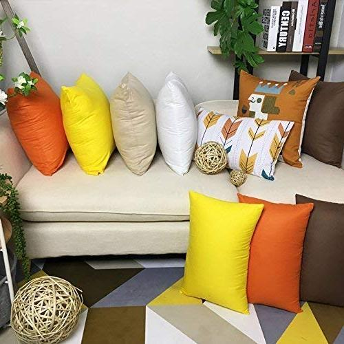 4-Pack Cotton Solid Decorative Throw Case Square Cover Pillowcase 17 x Inches