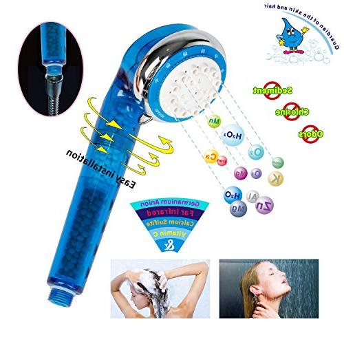 Geekpure 4 Showerhead -Remove Hardness Chlorine Add Vitamin Skin Longer Itchy-2 Filters free