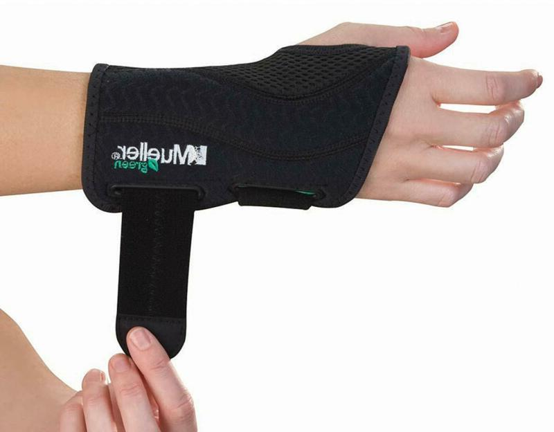 green fitted wrist brace black left hand