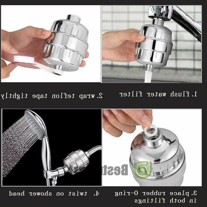 Pro Universal Shower Head Water Filter Water Softener w/10FT