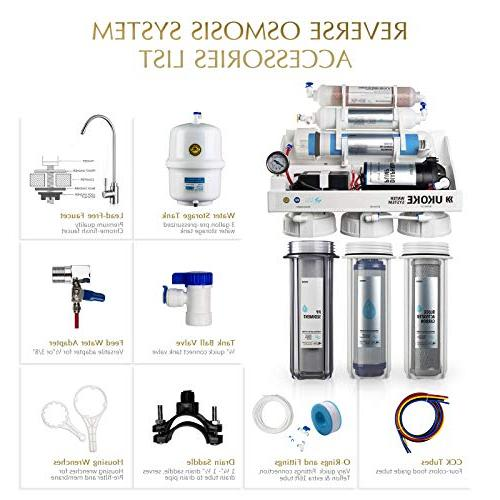 Ukoke RO75GP Reverse Osmosis Sink pH+ Alkaline Remineralizing RO Filter & System, NSF & Gold Seal Gallon Per White with Pump
