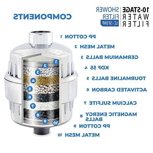 10-Stage Shower Filter Chlorine Filter Water Softener - Cartridges - Water Filter For