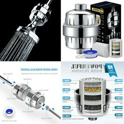 Stage Shower Head Water Filter Softener Removes Chlorine Wit