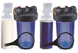 "Two 10"" Big Blue Whole House Water Filters w/ Sediment & GAC"